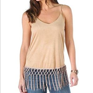 Wrangler Fringe Tank Top Small Tan